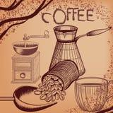 Αφίσα καφέ με συρμένα τα χέρι σιτάρια μύλων καφέ, κουπών και καφέ Στοκ φωτογραφία με δικαίωμα ελεύθερης χρήσης