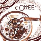 Αφίσα καφέ με συρμένο το χέρι μύλο καφέ στο ύφος σκίτσων Στοκ Εικόνες
