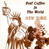 Αφίσα καφέ με το άγαλμα του φλιτζανιού του καφέ εκμετάλλευσης ελευθερίας Στοκ Φωτογραφία