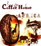 Αφίσα καφέ Grunge με το σιτάρι καφέ, τα σημεία και το αφρικανικό ζώο Στοκ φωτογραφία με δικαίωμα ελεύθερης χρήσης