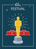 Αφίσα κινηματογράφων φεστιβάλ Βραβείο στη σκηνή πριν από την αίθουσα κινηματογράφων Επίπεδο ύφος περιλήψεων Στοκ Εικόνες