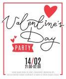 Αφίσα κομμάτων ημέρας βαλεντίνων ` s με τις καρδιές και το χειρόγραφο κείμενο Στοκ Εικόνες