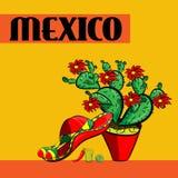 Αφίσα Μεξικό, σομπρέρο, πικάντικα πιπέρια τσίλι, maracas, κάκτος και ασβέστης Στοκ εικόνες με δικαίωμα ελεύθερης χρήσης