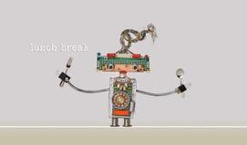 Αφίσα μεσημεριανού διαλείμματος Αστείο ρομποτικό κουτάλι δικράνων παιχνιδιών στα όπλα Γκρίζο μπεζ υπόβαθρο Στοκ φωτογραφία με δικαίωμα ελεύθερης χρήσης