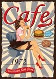 Αφίσα με μια καρφίτσα-επάνω σερβιτόρα Αμερικανικοί καφέδες γρήγορου φαγητού διανυσματική απεικόνιση