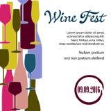 Αφίσα με τα μπουκάλια του κρασιού και των γυαλιών Στοκ Φωτογραφία