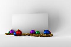 Αφίσα με τις ζωηρόχρωμες διακοσμήσεις Χριστουγέννων Στοκ φωτογραφία με δικαίωμα ελεύθερης χρήσης