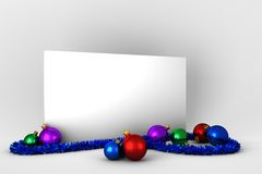 Αφίσα με τις ζωηρόχρωμες διακοσμήσεις Χριστουγέννων Στοκ Φωτογραφία