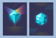 Αφίσα με το διαμάντι της μπλε διανυσματικής απεικόνισης απεικόνιση αποθεμάτων