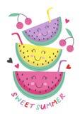 Αφίσα με το χαριτωμένο καρπούζι διανυσματική απεικόνιση