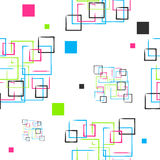 Αφίσα με το χρωματισμένα τετράγωνο και τα σημεία Στοκ φωτογραφίες με δικαίωμα ελεύθερης χρήσης