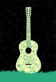αφίσα μουσικής Έννοια κιθάρων φιαγμένη από λαϊκή διακόσμηση επίσης corel σύρετε το διάνυσμα απεικόνισης Στοκ Φωτογραφία
