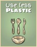 Αφίσα μπαμπού χρήσης λιγότερο πλαστική dishware Κινητήρια φράση E Πηγαίνετε πράσινη διαβίωση διανυσματική απεικόνιση