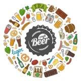 Αφίσα μπύρας τεχνών Hipster doodle Στοκ Εικόνες