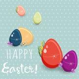 Αφίσα Πάσχας Κρεμώντας αυγά στο μπλε υπόβαθρο με το χειρόγραφο κείμενο επίσης corel σύρετε το διάνυσμα απεικόνισης Στοκ Εικόνες