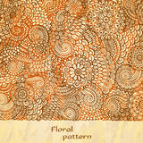 Αφίσα προτύπων με τα λουλούδια και το Paisley doodle διανυσματική απεικόνιση