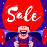 Αφίσα πώλησης, έμβλημα πώλησης με το έξυπνο ζωηρόχρωμο κορίτσι ομιλητών διανυσματική απεικόνιση