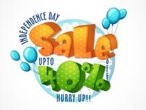 Αφίσα πώλησης, έμβλημα, ιπτάμενο για τη ημέρα της ανεξαρτησίας Στοκ φωτογραφία με δικαίωμα ελεύθερης χρήσης