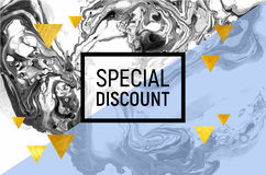 Αφίσα πώλησης Γραπτό μάρμαρο Μπλε λωρίδα, χρυσά τρίγωνα φύλλων αλουμινίου επίσης corel σύρετε το διάνυσμα απεικόνισης Στοκ Εικόνες