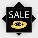 Αφίσα πώλησης με το μαύρο τετράγωνο Στοκ Φωτογραφίες