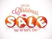 Αφίσα πώλησης Χριστουγέννων, έμβλημα ή σχέδιο ιπτάμενων Στοκ Φωτογραφίες