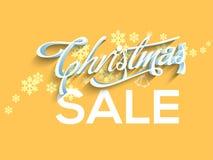Αφίσα πώλησης Χριστουγέννων, σχέδιο εμβλημάτων Στοκ Εικόνα