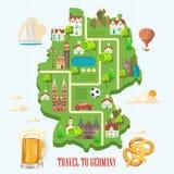 Αφίσα ταξιδιού της Γερμανίας Έννοια αρχιτεκτονικής ταξιδιού Τουριστικό υπόβαθρο με τα ορόσημα, κάστρα, μνημεία ελεύθερη απεικόνιση δικαιώματος