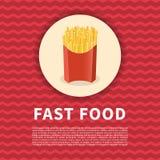 Αφίσα τηγανιτών πατατών Χαριτωμένη χρωματισμένη εικόνα του γρήγορου φαγητού Στοκ φωτογραφία με δικαίωμα ελεύθερης χρήσης