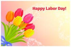 Αφίσα της ευτυχούς Εργατικής Ημέρας με την ανθοδέσμη των τουλιπών απεικόνιση αποθεμάτων