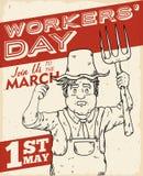 Αφίσα της Farmer για το γεγονός ημέρας των εργαζομένων, διανυσματική απεικόνιση Στοκ Εικόνες