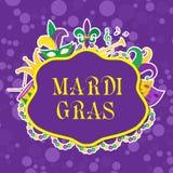Αφίσα της Mardi Gras με τη μάσκα, χάντρες, σάλπιγγα, τύμπανο, fleur de lis, jester καπέλο, μάσκες Στοκ Εικόνες