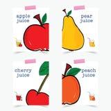 Αφίσα του συνόλου φρούτων στη ζωηρόχρωμη απεικόνιση στοκ φωτογραφία