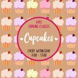 Αφίσα τυπογραφίας Cupcakes με το γλυκό υπόβαθρο σχεδίων επιδορπίων Μαθήματα μαγειρέματος, σχολείο, σειρές μαθημάτων, κατηγορίες γ διανυσματική απεικόνιση