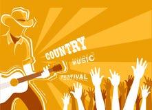 Αφίσα φεστιβάλ country μουσικής με την κιθάρα παιχνιδιού μουσικών διανυσματική απεικόνιση