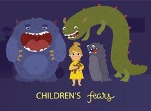 Αφίσα φόβων παιδιών Απεικόνιση αποθεμάτων