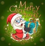 Αφίσα Χαρούμενα Χριστούγεννας με Santa και το δώρο απεικόνιση αποθεμάτων