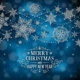 Αφίσα Χριστουγέννων - απεικόνιση Χριστούγεννα σκούρο μπλε - σύντομο τετράγωνο κειμένων Στοκ φωτογραφία με δικαίωμα ελεύθερης χρήσης