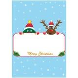 Αφίσα Χριστουγέννων με το Rudolf και το δέντρο Στοκ φωτογραφία με δικαίωμα ελεύθερης χρήσης