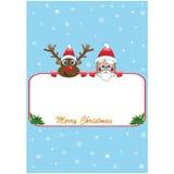 Αφίσα Χριστουγέννων με το santa και το Rudolf Στοκ Εικόνες