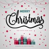 Αφίσα δώρων Χαρούμενα Χριστούγεννας Χρυσή ακτινοβολία Χριστουγέννων με το lett Στοκ εικόνες με δικαίωμα ελεύθερης χρήσης