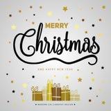 Αφίσα δώρων Χαρούμενα Χριστούγεννας Χρυσή ακτινοβολία Χριστουγέννων με το lett Στοκ Φωτογραφία