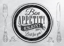 Αφίσα Bon appetit. Άνθρακας. Στοκ φωτογραφία με δικαίωμα ελεύθερης χρήσης