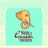 Αφίσα Chaturthi Ganesh, κεφάλι ελεφάντων Στοκ Εικόνες