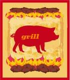 Αφίσα Grunge χοίρων - κάρτα καταλόγων επιλογής σχαρών Στοκ Εικόνες