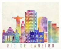 Αφίσα watercolor ορόσημων Ρίο ντε Τζανέιρο ελεύθερη απεικόνιση δικαιώματος