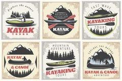 Αφίσες γύρων Kayaking καθορισμένες διανυσματική απεικόνιση
