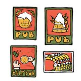 Αφίσες μπαρ μπύρας, αυτοκόλλητες ετικέττες, εμβλήματα Στοκ εικόνες με δικαίωμα ελεύθερης χρήσης