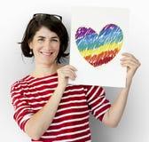 Αφίσσα εκμετάλλευσης γυναικών με το εικονίδιο καρδιών LGBT Στοκ Εικόνα