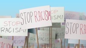 Αφίσσες ρατσισμού στάσεων στην επίδειξη οδών Εννοιολογική loopable ζωτικότητα απεικόνιση αποθεμάτων