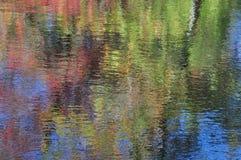 Αφαίρεση: αντανάκλαση φυλλώματος δέντρων φθινοπώρου στο νερό Στοκ Εικόνες